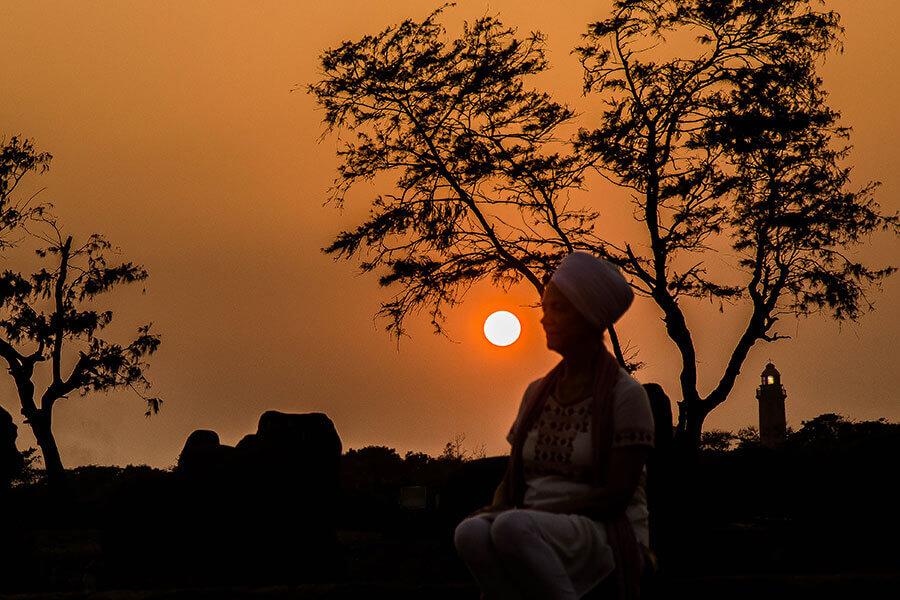 Sunset meditating